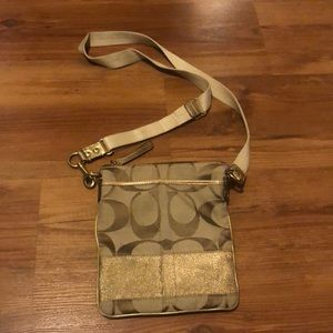Coach Signature Stripe Swingpack Khaki Gold Sparkle Crossbody Purse Bag